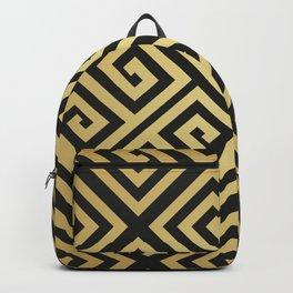 Black and gold high fashion Greek key pattern Backpack