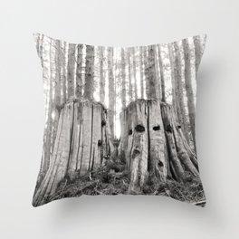 Nurse Stump Pacific Northwest Forest Cedar Trees Sepia Print Throw Pillow