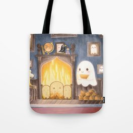 Little ghost making fire Tote Bag