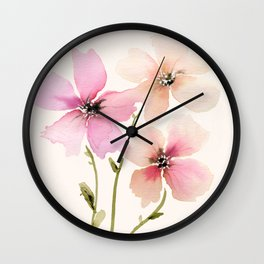 Light Peach, pink watercolor flowers Wall Clock