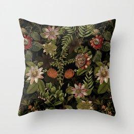 Midnight Summer Sepia Exotic Passiflora Flowers Garden Throw Pillow