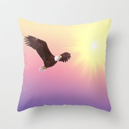 Bald eagle soaring bird raptor Throw Pillow