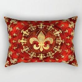Fleur-de-lis ornament Red Marble and Gold Rectangular Pillow