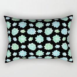 Modern black teal turquoise trendy cactus floral pattern Rectangular Pillow