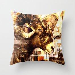 Rocky Mountain Ram in burnt sienna Throw Pillow