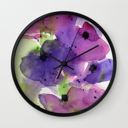Purple Flowers in the Garden Wall Clock