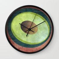 avocado Wall Clocks featuring Avocado by Red Coat Studio Design