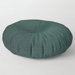 Forest Green Tooled Leather Floor Pillow