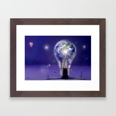 The sun is a light bulb Framed Art Print
