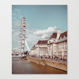 Postcard Picture of the London Eye & The Thames, moody blue tint Canvas Print