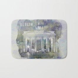 BERLIN Brandenburg Gate   watercolor Bath Mat