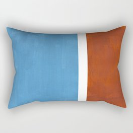 Antique Pastel Blue Brown Mid Century Modern Abstract Minimalist Rothko Color Field Squares Rectangular Pillow