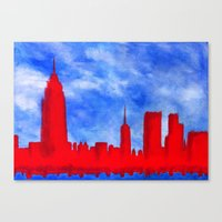 Bright Lights, Red City Canvas Print