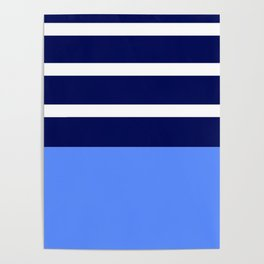 Summer Patio Perfect, Blue, White & Navy Poster