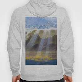 Sun Over Southern Mountains and Sea landscape by Jens Ferdinand Willumsen Hoody