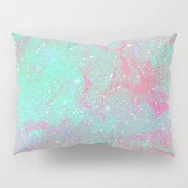 Teal Pink Marble Stars Pillow Sham