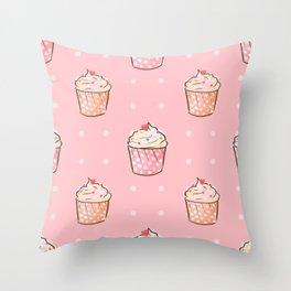 Pink cupcakes pattern Throw Pillow