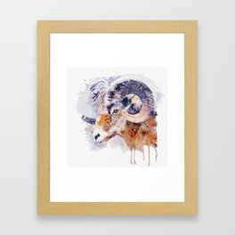 Bighorn Sheep watercolor portrait Framed Art Print