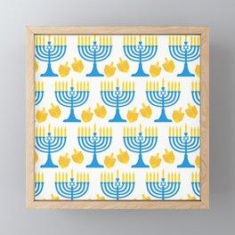Hanukkah Bright Candles Menorah and Chic Dreidel Pattern Framed Mini Art Print
