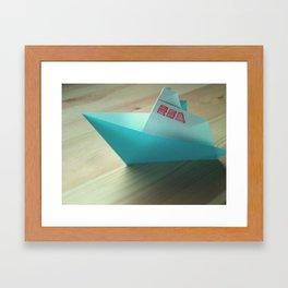Origami love boat Framed Art Print