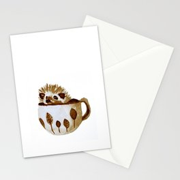 Hedgehog in a Cup Painted with Coffee Stationery Cards