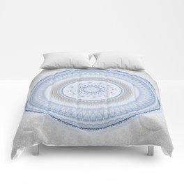 Elegant Blue Silver China Inspired Mandala Comforters