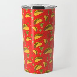 Tasty Tacos Chillies and Cactus Mexican Food Pattern on Red Travel Mug