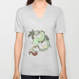 Chinese Dragon With Wolf Head And Black Cats Surreal Artwork Unisex V-Neck