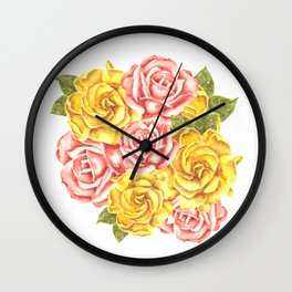 Pretty Watercolor Flowers Wall Clock