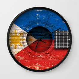 Old Vintage Acoustic Guitar with Filipino Flag Wall Clock