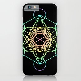 Metatron's Cube- Rainbow on Black iPhone Case
