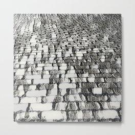 Black and White Escher-esque Cobblestones Metal Print