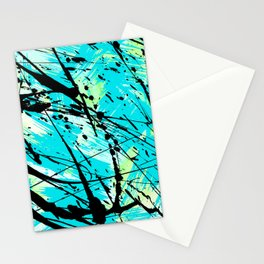 Abstract teal lime green brushstrokes black paint splatters Stationery Cards