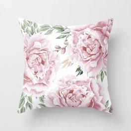 Girly Pastel Pink Roses Garden Throw Pillow