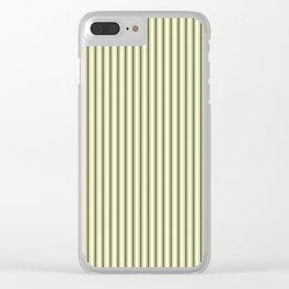Mattress Ticking Narrow Striped Pattern in Dark Black and Cream Clear iPhone Case