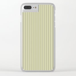 Mattress Ticking Narrow Striped Pattern in Dark Black and Cream Clear iPhone Case