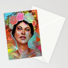 Flower Rainbow Girl in Mixed Media Stationery Cards