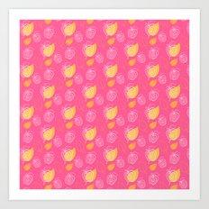Apple festival on a pink Art Print