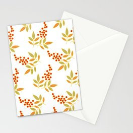 Natural Red White Berries Orange Leaves Flow Stationery Cards