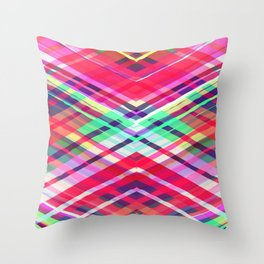 Modern Pink Tribal Plaid Throw Pillow