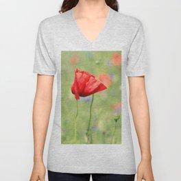 poppy flower no7 Unisex V-Neck