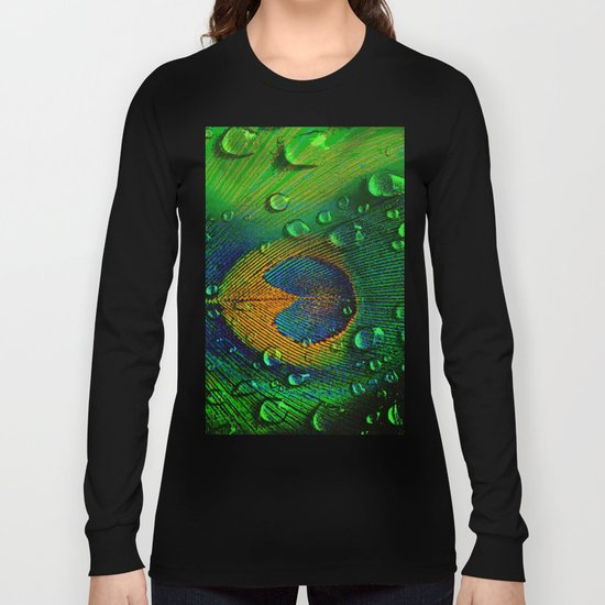 Drops on peacock  (This Artwork is a collaboration with the talented artist Agostino Lo coco) Long Sleeve T-shirt