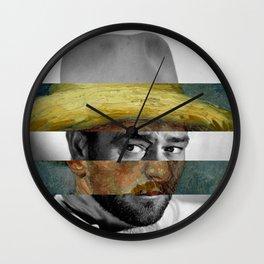 Van Gogh's Self Portrait with Straw Hat & John Wayne Wall Clock