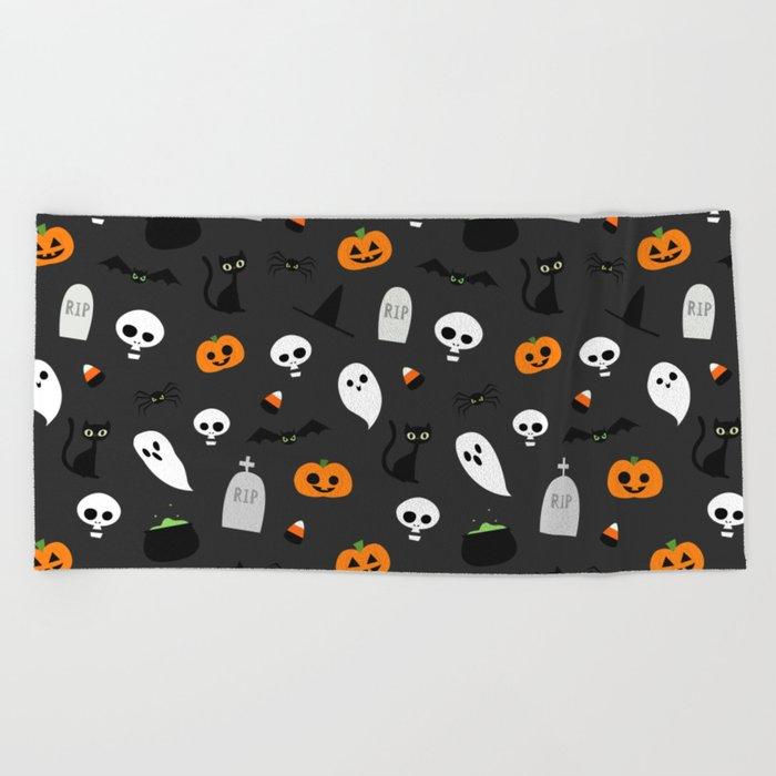 Halloween Pattern Beach Towel