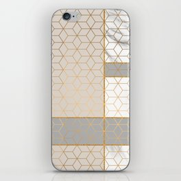 Golden Pastel Marble Geometric Design iPhone Skin