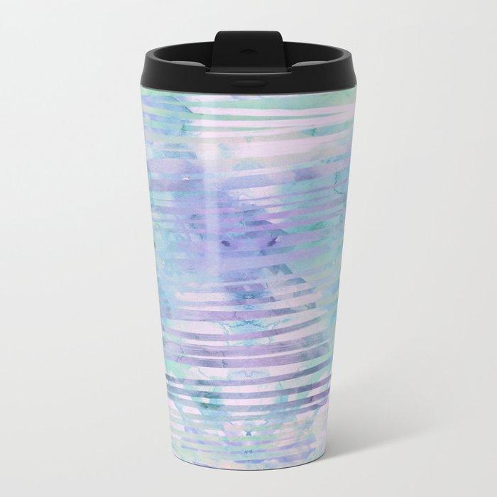 Modern hand drawn geometric stripes purple watercolor pattern Metal Travel Mug