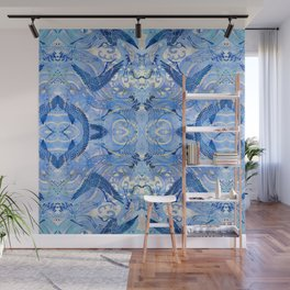 Blue Chinoiserie Watercolor Waves & Cranes  Wall Mural