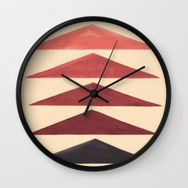 Brown Geometric Triangle Pattern With Black Accent Wall Clock