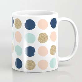 Wren - Pastel Brush Stroke Minimal Dots with glitter  Coffee Mug