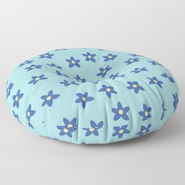 Blue Turquoise Floral Pattern Floor Pillow